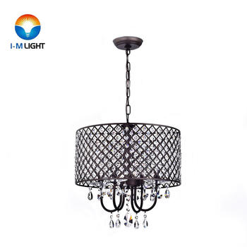 IM Lighting 4-light antique bronze contemporary wrought iron drum shade glam chandelier light