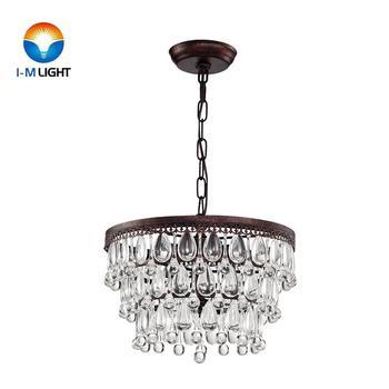 IM Lighting 3-light antique copper metal chandelier light drop crystal decoration retro pendant lamp